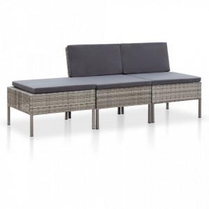 Set mobilier de gradina cu perne, 3 piese, gri, poliratan - V48958V