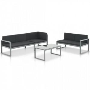 Set mobilier de gradina cu perne 3 piese negru aluminiu - V44448V
