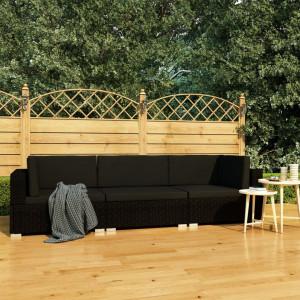 Set mobilier de gradina cu perne, 3 piese, negru, poliratan - V47267V