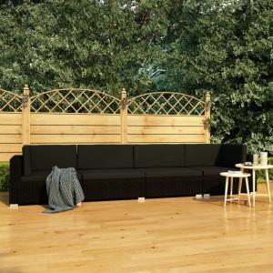 Set mobilier de gradina cu perne, 4 piese, negru, poliratan - V47271V