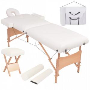 Set taburet si masa masaj pliabila 2 zone, grosime 10 cm, alb - V110154V