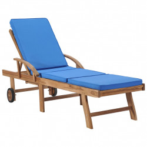 Sezlong cu perna, albastru, lemn masiv de tec - V48025V