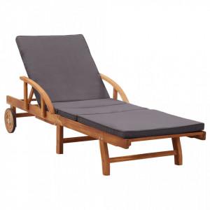 Sezlong cu perna, lemn masiv de acacia - V46026V