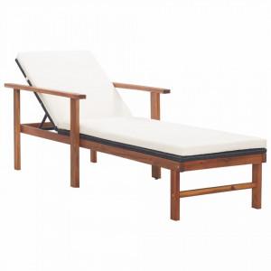 Sezlong cu perna, negru, poliratan si lemn masiv de acacia - V48707V