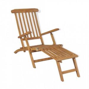 Sezlong cu suport picioare, lemn masiv de tec - V43800V