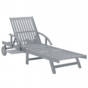 Sezlong de gradina, gri, lemn masiv de acacia - V45939V