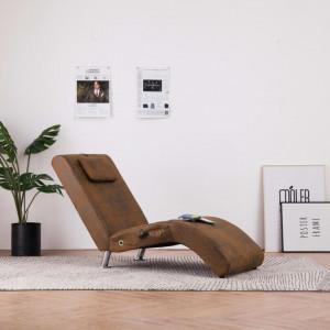 Sezlong de masaj cu perna, maro, piele intoarsa artificiala - V281289V