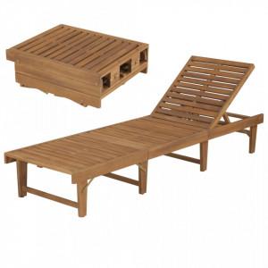 Sezlong de plaja pliabil, lemn masiv de acacia - V44253V