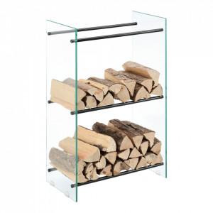 Suport lemne foc Oshawa Glas, 60x100x35cm, otel/sticla securizata, transparent/negru - P71901955