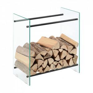 Suport lemne foc Oshawa Glas, 60x60x35cm, otel/sticla securizata, transparent/negru - P71901953