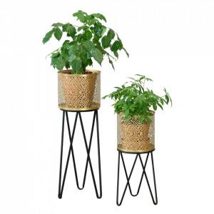 Suport plante 2 bucati ABMM-2158, metal, negru/auriu, cu picioare hairpin, masuri diferite - P72332344