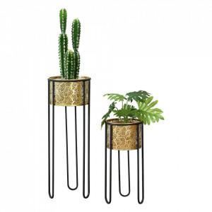 Suport plante picioare hairpin 2 bucati ABMM-2153, metal, negru/auriu, cu picioare hairpin, masuri diferite - P72332339