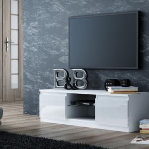TECTV3 - Comoda TV 120 cm, living - Alb lucios, Negru lucios