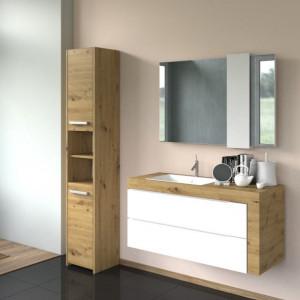 TEDUAR101 - Dulap inalt baie, Stejar Artisan 30 x 30 x 170 cm, PAL