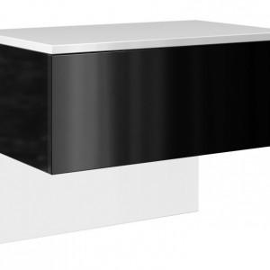 TENOA-N101 - Noptiera 61 x 35 x 46 cm, Alb-Negru-Lucios