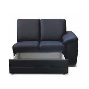 2- şed cu Mânere şi spaţiu pentru depozitare, piele eco neagră, dreapta, BITER 2 1B ZS