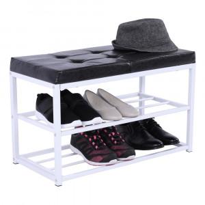 Bancă cu rafturi pantofi, negru/alb, LYROS