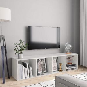 Biblioteca/Comoda TV, alb extralucios, 143 x 30 x 36 cm - V800267V