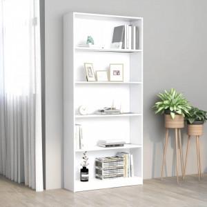 Biblioteca cu 5 rafturi, alb, 80 x 24 x 175 cm, PAL - V800918V