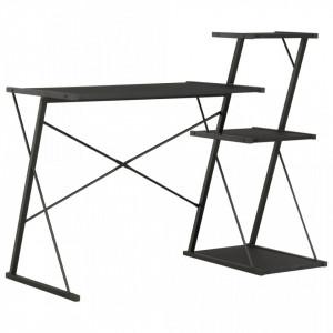 Birou cu raft, negru, 116 x 50 x 93 cm - V20288V