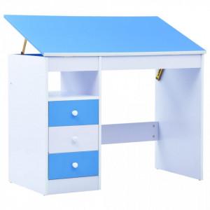 Birou de studiu & desenat pentru copii rabatabil albastru & alb - V287446V