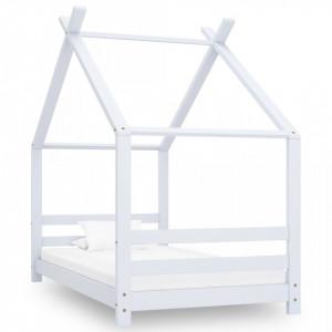 Cadru pat de copii, alb, 80 x 160 cm, lemn masiv de pin - V289611V