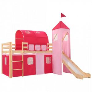 Cadru pat etajat copii cu tobogan & scara 208x230 cm lemn pin - V282712V