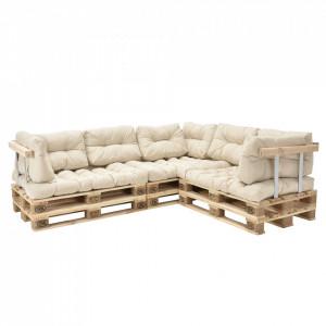 Canapea de colt Euro Paleti - 5 locuri, 6 x europaleti, 3 x perna sezut, 8 x perna spate, 3 x spatar, 3 x suport brate, bej - P53349042