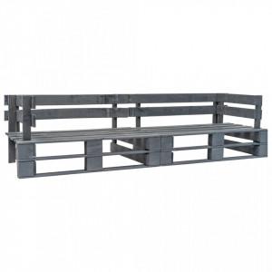 Canapea de gradina cu 2 locuri din paleti, gri, lemn - V276312V