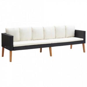 Canapea de gradina cu 3 locuri, cu perne, negru, poliratan - V310214V
