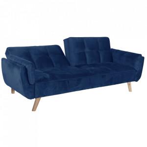 Canapea extensibilă, albastru regal/stejar, FILEMA