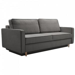 Canapea extensibilă, gri / negru, BERNIA