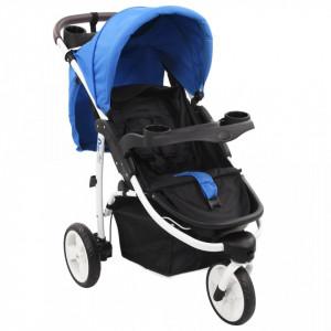 Carucior cu 3 roti pentru copii, albastru si negru - V10179V