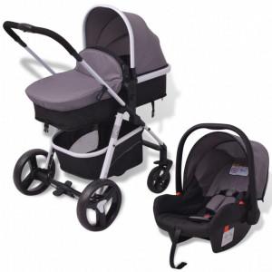 Carucior pentru copii 3-in-1, gri si negru, aluminiu - V10116V