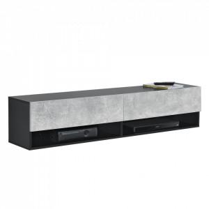 Comoda TV Halmstad SBO, 140 x 31 x 30 cm, PAL melaminat, negru/efect beton, cu 2 usi si 2 rafturi, montabila pe perete - P73294038
