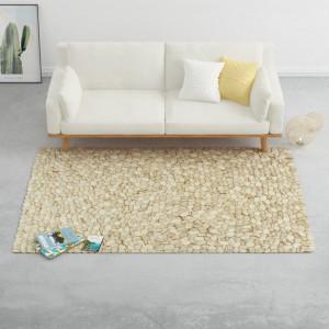 Covor, bej/gri/maro/ ciocolata, 160x230 cm, pietre fetru lana - V284383V