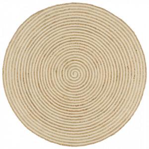 Covor lucrat manual cu model spiralat, alb, 150 cm, iuta - V133718V