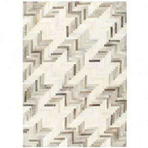 Covor piele naturala cu par, gri/alb, 160x230 cm, petice - V134394V