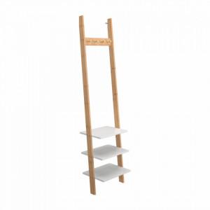 Cuier cu rafturi, alb/bambus, MARIKE TYP 1