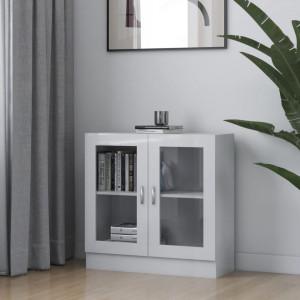 Dulap cu vitrina, alb extralucios, 82,5 x 30,5 x 80 cm, PAL - V802747V