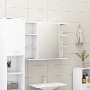 Dulap de baie cu oglinda, alb, 80 x 20,5 x 64 cm, PAL - V802606V
