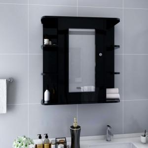 Dulap de baie cu oglinda, negru, 66 x 17 x 63 cm, MDF - V323602V