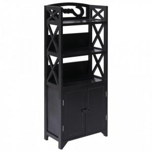Dulap de baie, negru, 46 x 24 x 116 cm, lemn de paulownia - V284112V