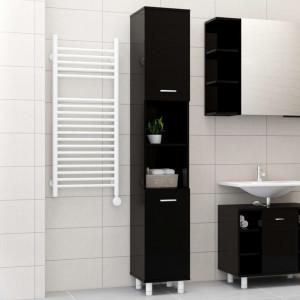 Dulap de baie, negru extralucios, 30 x 30 x 179 cm, PAL - V802631V