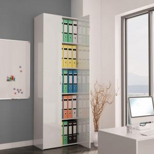 Dulap de birou, alb extralucios, 60x32x190 cm, PAL - V800303V