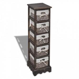Dulap de depozitare din lemn, 5 cosuri impletite, maro - V240801V