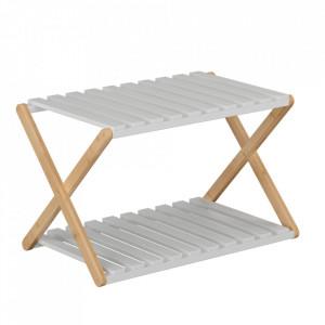 Etajeră cu 2 rafturi, bambus natural / alb, PEORIA TYPE 1