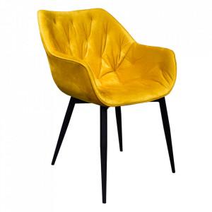 Fotoliu de design, material textil Velvet galben, FEDRIS