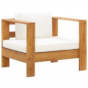Fotoliu de gradina cu perna, crem, lemn masiv de acacia - V47272V