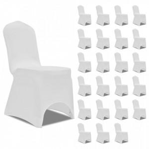 Huse de scaun elastice, 24 buc., alb - V3051636V